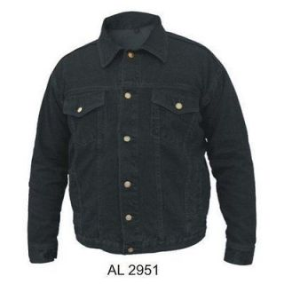 Mens 100% Cotton Black Denim Jacket W/ Button Front Closure