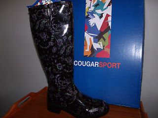 WOMENS COUGAR SPORT RAIN BOOTS FRANKLIN BLACK/LILAC SIZE 7 WATERPROOF
