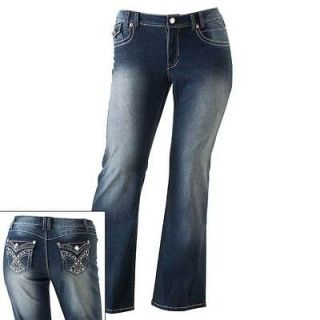 Angels Sizes 16, 18, 20, 22 Bootcut Gem Embelished Pocket Plus Jeans $
