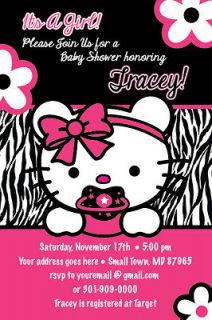 TEDDY Zebra Print Printable Baby Shower Party Invitation GIRL1st