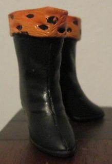 West Barbie Doll ? Black & Orange Boots Rubber Japan Anne Francis