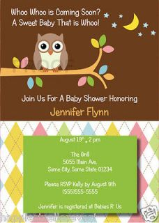 You OWL printed BABY SHOWER INVITATION BIRTHDAY ANNIVERSARY INVITES