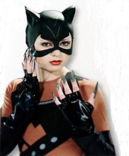 CATWOMAN Cat Woman CATMASK CAT HALF MASK GLOVES FINGER NAILS Womens