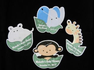 UNIQUE PERSONALIZED BABY SHOWER PARTY FAVOR GIFT TAGS JUNGLE ANIMAL