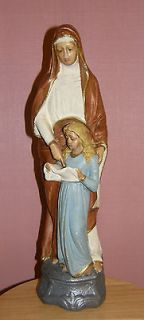 VINTAGE ANTIQUE CATHOLIC STATUE 17 ST ANNE W CHILD CHALKWARE