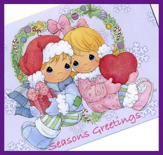 precious moments glitter christmas card w envelope set of 6 all