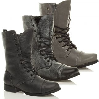 WOMENS LADIES MILITARY LACE UP ARMY COMBAT ANKLE BOOTS SIZE