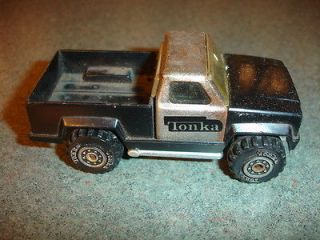 Old Vtg Antique Collectible Tonka Toys Black Toy Pick Up Truck w/ Big