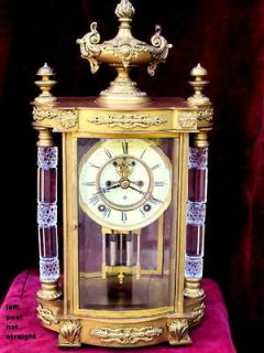 ANTIQUE ANSONIA MANTLE CLOCK.OPEN ESCAPEMENT,BRA SS/GLASS CASE,MERCURY