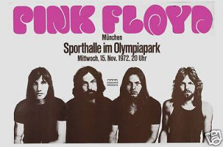 Classic Rock Pink Floyd in Germany Concert Tour Poster Circa 1972