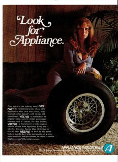 1972 Appliance Industries Wire Mag Wheels Sexy Girl Ad