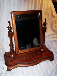 ANTIQUE WALNUT & MAHOGANY STANDING DRESSER SHAVING MIRROR~BURLED