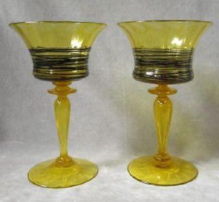 Antique Carder Steuben WINE STEM ART GLASS AMBER THREADED GOBLET