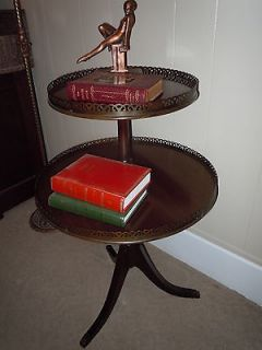 ANTIQUE MAHOGANY WOOD TIER TIERED ROUND DRUM PIE TABLE PEDESTAL BRASS