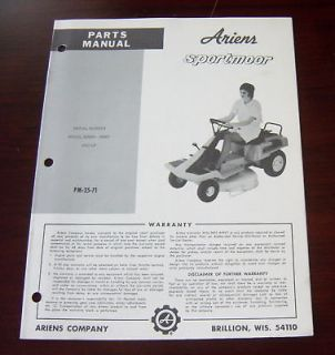 ARIENS SPORTMOOR 925001 RIDING MOWER PARTS MANUAL