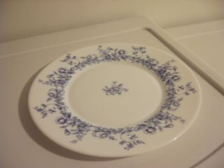 ARCOPAL FRANCE WHITE W BLUE FLORAL GLASS SALAD PLATE