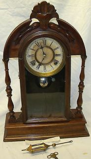 Rare Old Antique E N Welch Carved Mahogany 8 Day Strike Mantel Clock