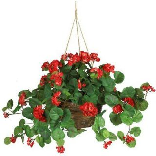 NATURAL 24 Red Geranium Hanging Basket   Silk Flower Arrangement