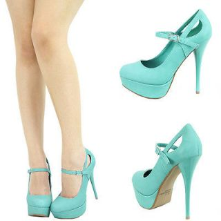 AQUA MINT BLUE ROUND TOE MARY JANE HIGH HEEL PLATFORM STILETTO SANDAL