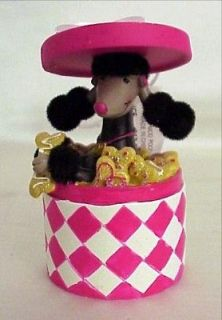 Black French Poodle in Pink & White Round Box w/ Dog Bones Ornament