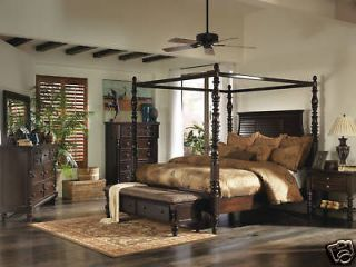 5pcs TRADITIONAL DARK BROWN QUEEN KING CANOPY BEDROOM SET FURNITURE