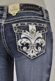 La Idol Boot Cut Jeans W/ White Stitching And Fleur De Lis Studs