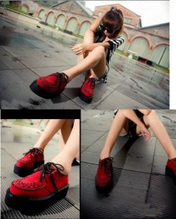 Toe Lace Up Punk Goth High Platform Flat Oxofrd Casual Creeper Shoes