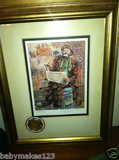 Jones Emmett Kelly Framed Signed Numbered Lithograph Wall Street