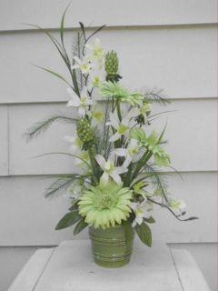 Silk Orchid and Gerbera Daisy Flower Arrangement