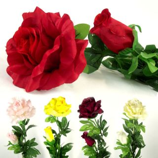 Large JUMBO 2 Head Rose Spray with Long Stem. Artificial Silk Flowers