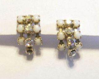 Vintage Milkglass Aurora Borealis Rhinestone Earrings