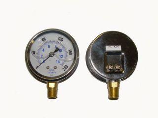 Liquid filled 2.5 200 psi air pressure gauge lower mnt