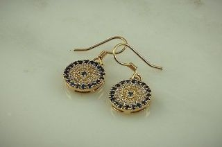 EYE FISH WIRE EARRINGS 14KT GOLD PLATE W/SAPPHIRE,CAN ARY & CRYSTAL