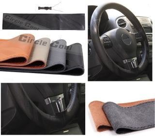 Leather Steering Wheel Cover Wrap 14 15 Needle Thread (Fits ATS