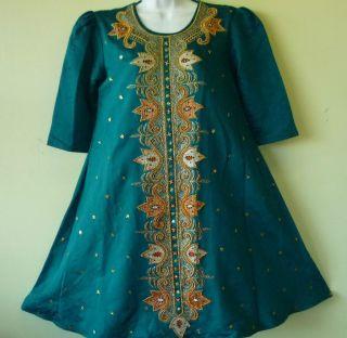 emerald green silk lavish beaded embroidered Asian traditional dress S