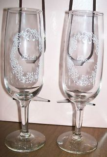 Wedding Floweral Bride Groom Flute Wine Glasses Matching Set 7 tall