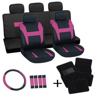 20pc Set Pink Black Auto Car Seat Cover Wheel+ Belt Pad + Head Rest