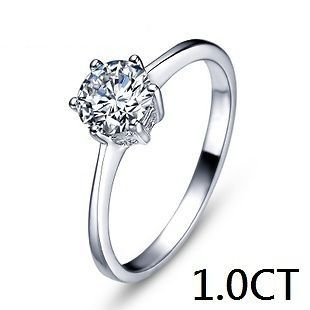 A201933 Man Made Diamond 1CT Engagement Ring White Gold GP, Size