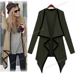 Womens Asymmetric Cape Poncho Top Cardigan Long Sleeve Coat Blouse