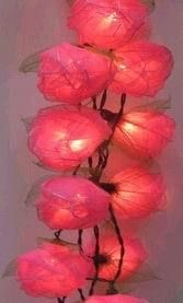 Pink Rose Bud Flower With Green Leaf Fairy Light Decoration For