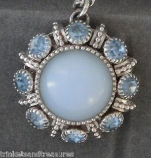Vintage Avon Pendant Necklace Powder Baby Blue Rhinestone & Faux