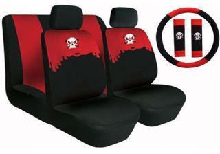 Neoprene SUV CAR SEAT COVERS 11 PC Set Superior Skeleton Skull Combo