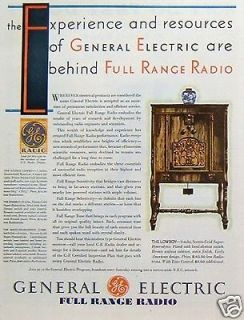 1931 General Electric Full Range Radio Wood Cabinet Lowboy Vintage