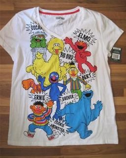 SESAME STREET GANG Big Bird Elmo & More ~ Womens Tee Shirt ~ L Large