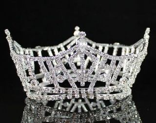 FULL CROWN CLEAR AUSTRIAN RHINESTONE CRYSTAL TIARA PAGEANT BRIDAL PROM