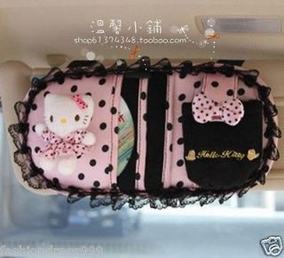 Hello Kitty Pink round dot Car Auto Sun Visor CD Holder Cover sleeve