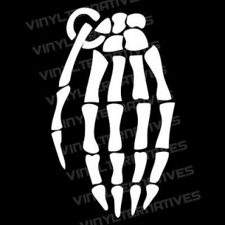 Skeleton Hand Grenade Vinyl Decal Sticker 13 Colors And 7 Sizes