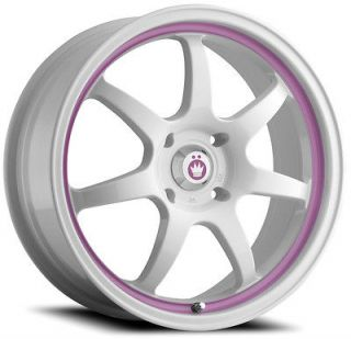 16 KONIG FORWARD WHITE PINK RIMS WHEELS 16x7 +40 5x100 NEON SRT JETTA