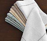 NIP Handmade Linen/Cotton Hemstitch Napkins 17x17 2pk