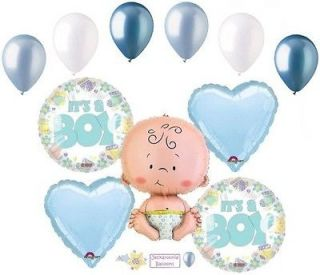 Lot Its a Boy Balloon Bouquet Decoration Baby Welcome Home Shower Born